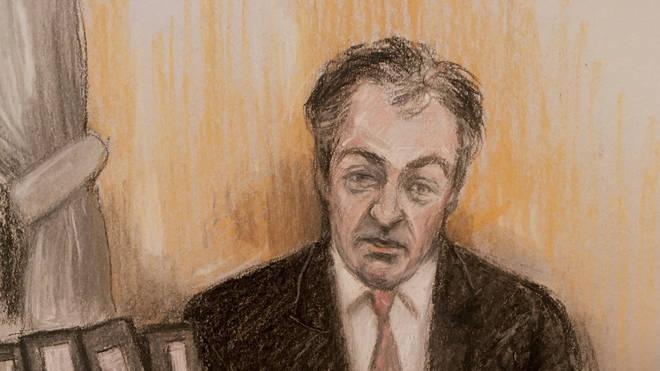 Court artist sketch by Elizabeth Cook of judge Mr Justice Warby