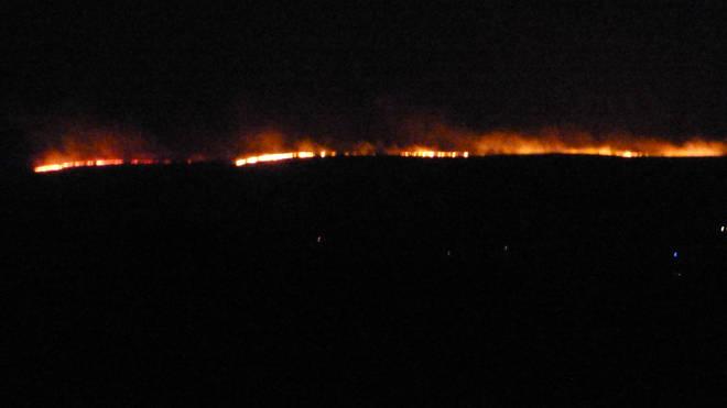 A huge fire has broken out on Dartmoor in Devon