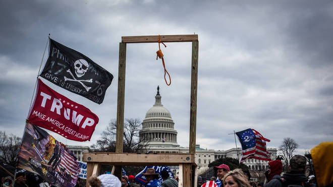 The mob set up a gallows outside the Capitol
