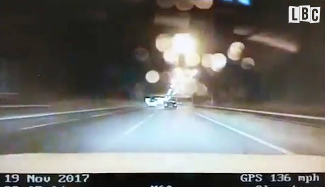 Police filmed the driver travelling at 136mph on the M60 on Sunday night