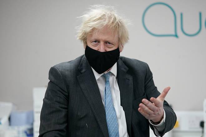 Prime Minister Boris Johnson at the QuantuMDx Biotechnology company in Newcastle