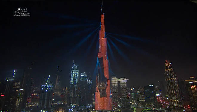 The Burj Khalifa was lit up in a countdown to the orbit insertion on Tuesday.