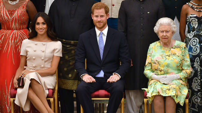 Harry and Meghan pictured with The Queen
