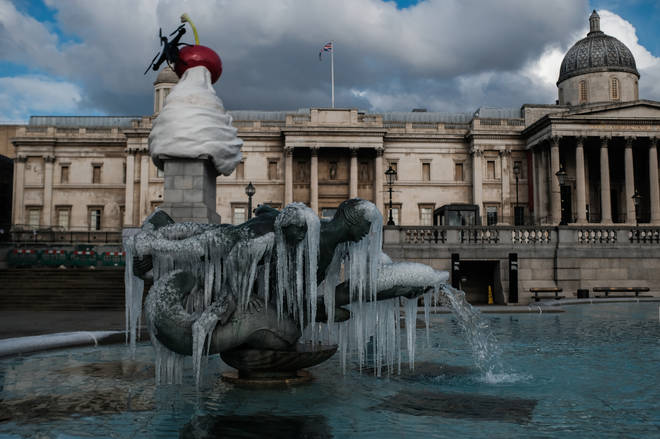 The cold weather caused the fountains at Trafalgar Square to freeze over