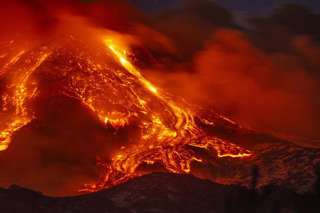 Mount Etna erupted on the Italian Island of Sicily on Tuesday