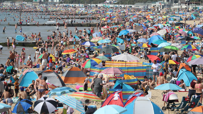 A packed Bournemouth beach in August