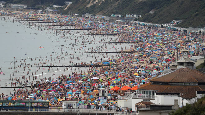 Bournemouth beach in Dorset drew huge crowds over the summer