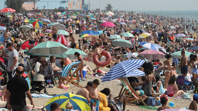 Big crowds also gathered on Southend beach in Essex