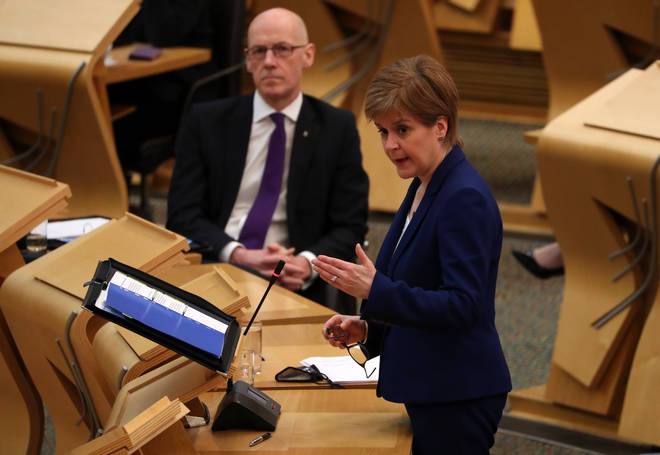 First Minister Nicola Sturgeon told MSPs the new Covid data was good news.