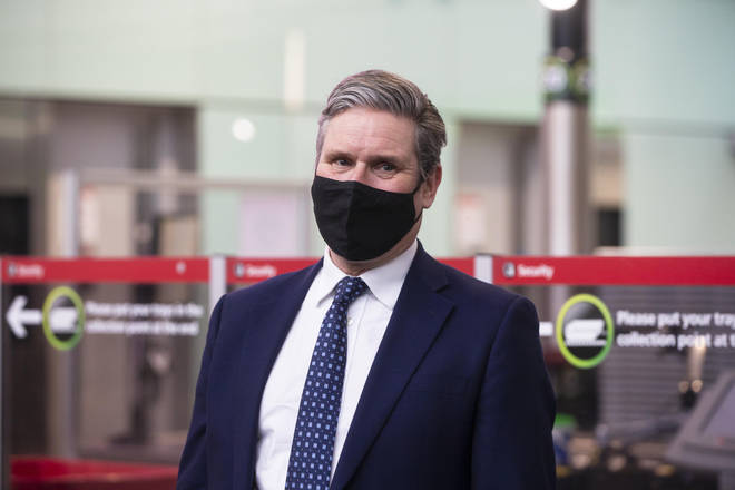Labour leader Sir Keir Starmer during a visit to Heathrow Airport
