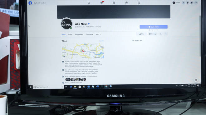 An Australian Broadcasting Corporation page on Facebook is displayed without posts on a computer in Sydney on Thursday