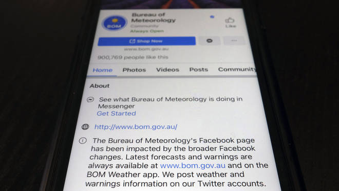 A disclaimer is shown on the bottom of Australia's Bureau of Meteorology page on the Facebook app