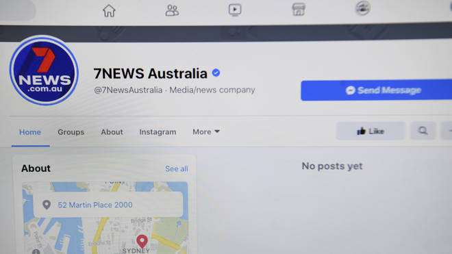 The 7News Australia Facebook page as seen on a screen on Thursday