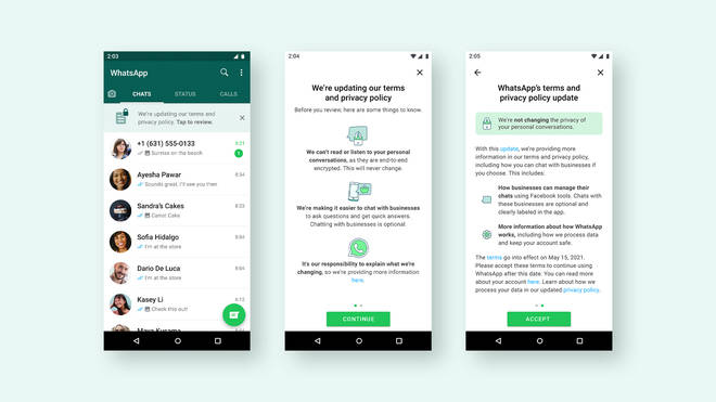 WhatsApp policy update screens