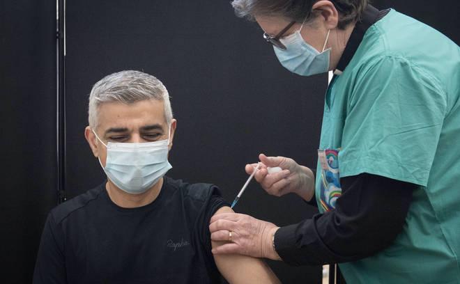 Mayor of London Sadiq Khan receives his jab