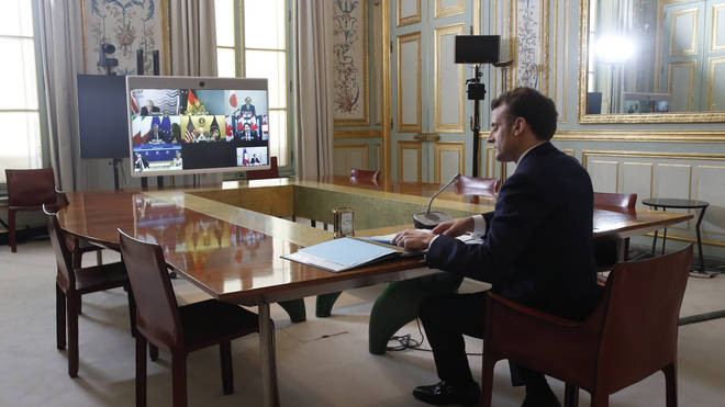 Emmanuel Macron joined the virtual G7 meeting to discuss the international Covid-19 response