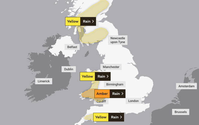 The Met Office has issued weather warnings for rain across the UK this weekend