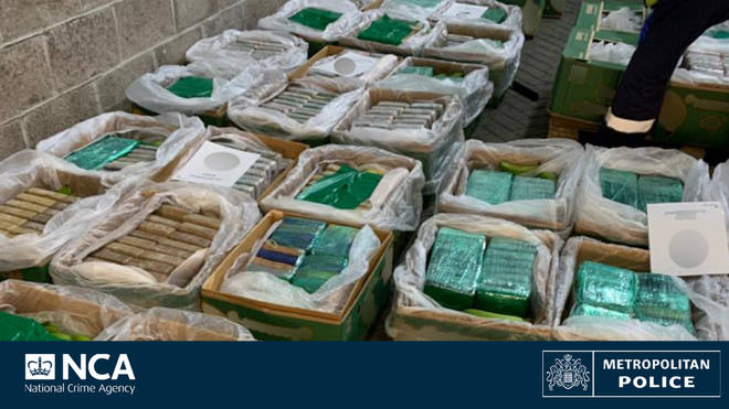 Cocaine worth up to £184m was seized after being imported from Colombia in a shipment of bananas