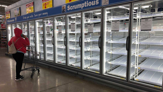 Shoppers at H-E-B Plus! in Flour Bluff were met with empty shelves on Thursday