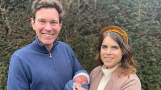 Princess Eugenie and Mr Jack Brooksbank and their son August Philip Hawke Brooksbank