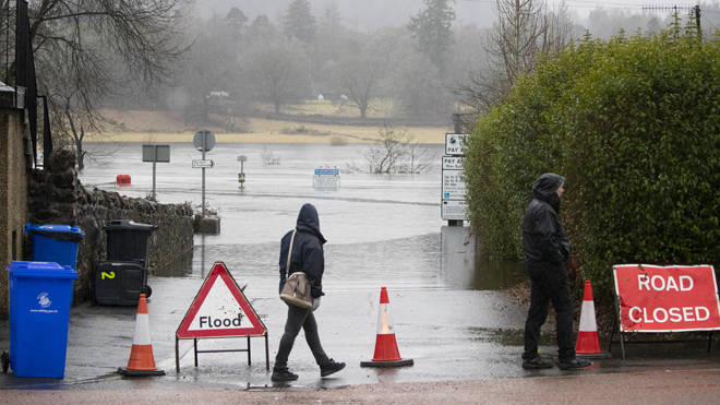 A flooded road in Callander, Stirlingshire, flooded after the River Teith burst its banks