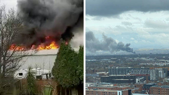 Smoke from the 'significant blaze' at a warehouse in Denton can be seen from miles around.