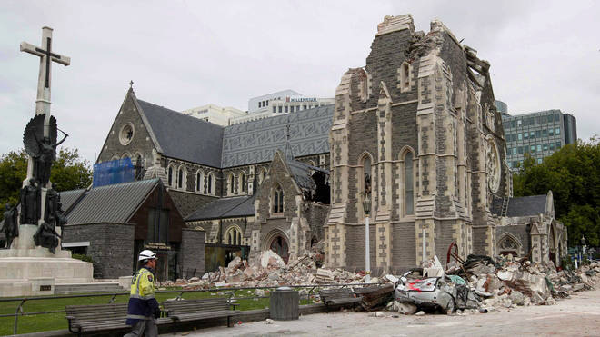 The ruined Christchurch cathedral after the 2011 earthquake