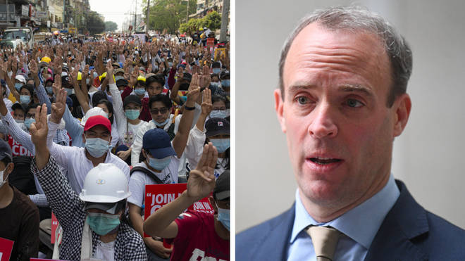 """Dominic Raab said he was considering """"further action"""" after innocent protesters were killed"""