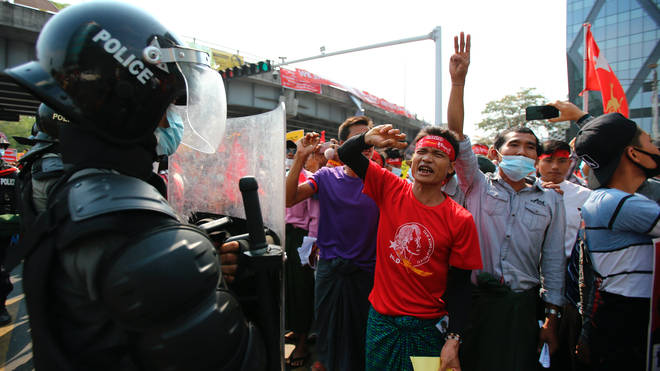 Anti-coup protesters outside the Hledan Centre in Yangon, Myanmar