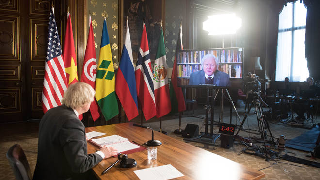 David Attenborough issues grim warning in virtual speech.