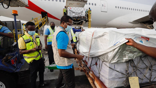 Adelivery of 600,000 doses of the AstraZeneca vaccine arrived in Ghana on Wednesday