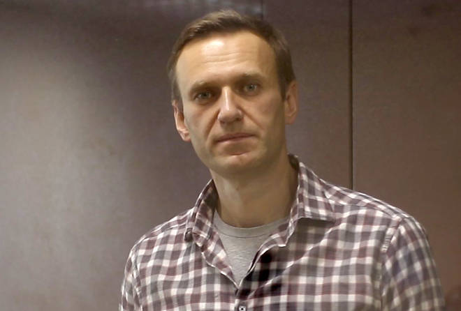 Russian opposition activist Alexei Navalny during an offsite hearing of the Moscow City Court