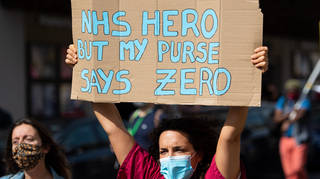 NHS workers protested their pay in London last September