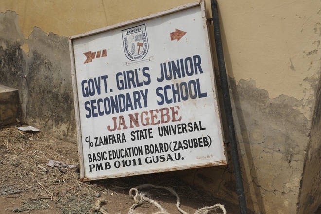 The sign post of Government Girls Junior Secondary School in Jangebe, following the attack