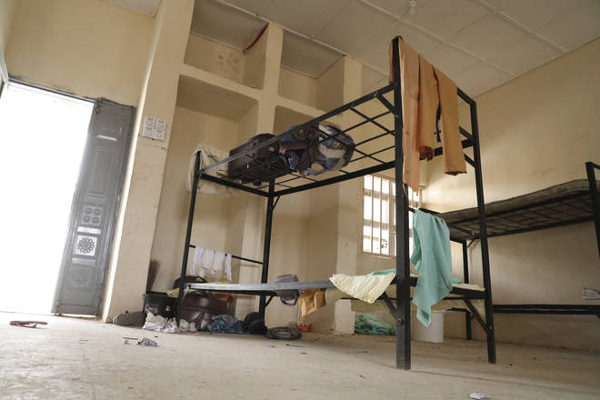 Students' belongings are seen inside the hostel of the school after the abduction