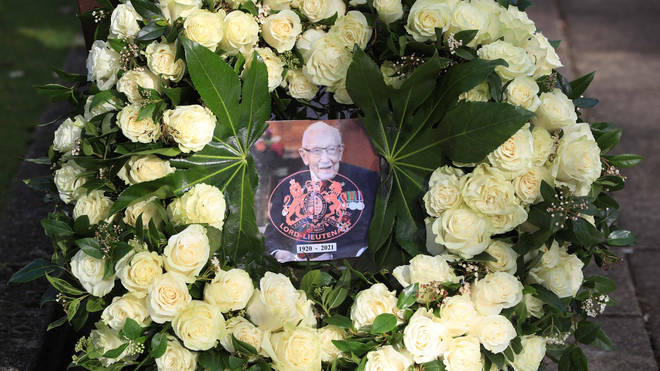 Captain Sir Tom Moore's family held a private funeral for the NHS fundraiser