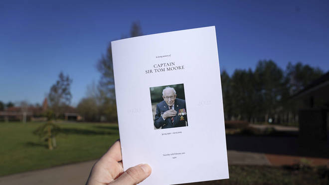 A view of the Order of Service for the funeral of Captain Tom Moore