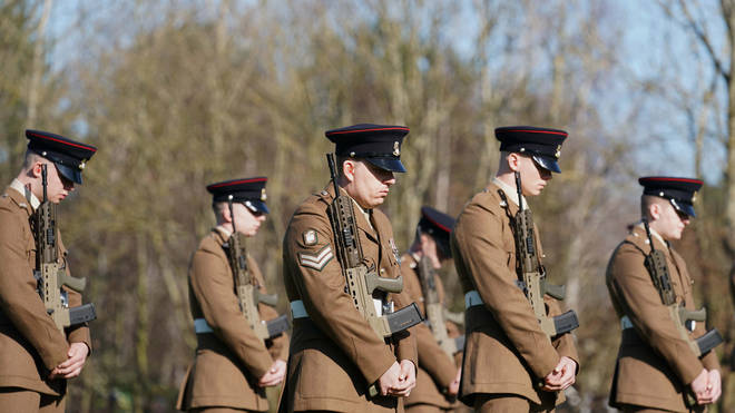 Members of the Armed Forces at the funeral of Captain Sir Tom Moore