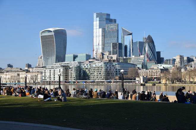 People enjoyed the sunshine in Potters Fields Park on Saturday, with a view of the City of London skyline.