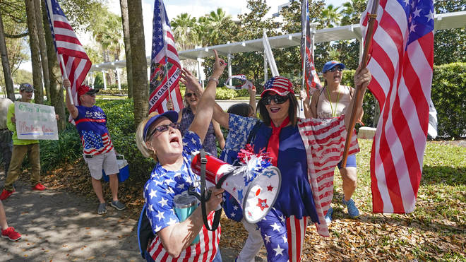 Supporters gathered outside the CPAC conference in Orlando, Florida