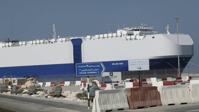 The MV Helios Ray at port in Dubai