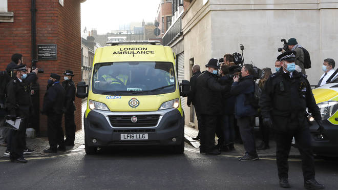 The ambulance pictured leaving the hospital earlier today