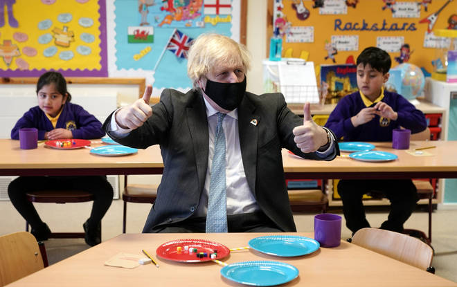 Boris Johnson defended the border restrictions during a visit to St Mary's CE Primary School in Stoke-on-Trent.