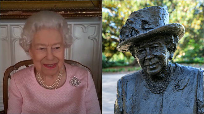 The statue of the Queen was unveiled virtually by her majesty
