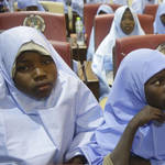 Students who were abducted by gunmen are seen after their release