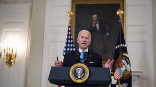 President Joe Biden said the US expects to take delivery of enough coronavirus vaccines for all adults by the end of May