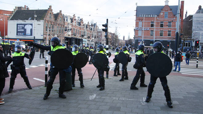 Police in the Netherlands during an anti-lockdown protest