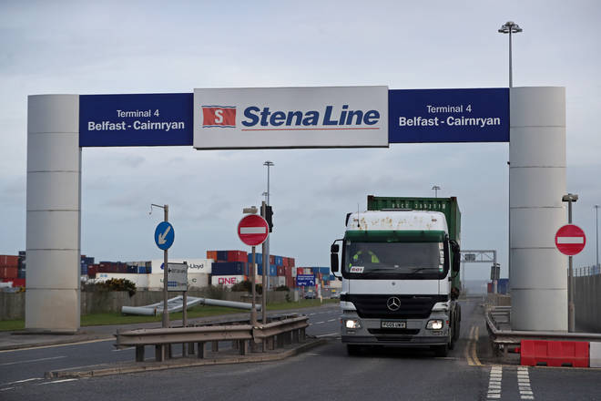 File photo: A freight lorry disembarking at Belfast Port