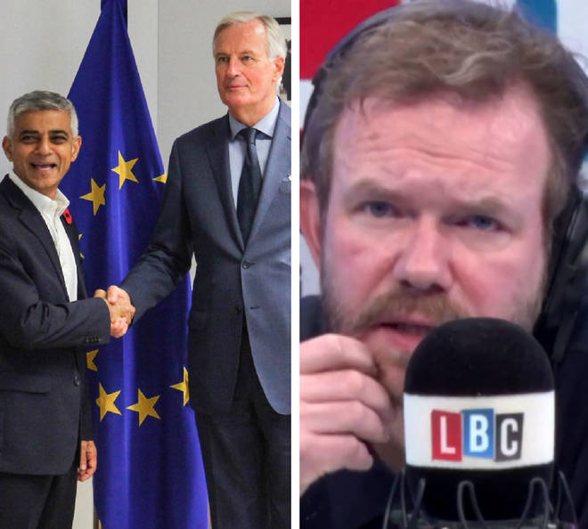Sadiq Khan spoke to James O'Brien after meeting with Michel Barnier in Brussels