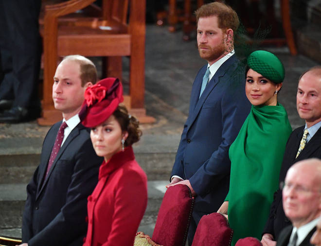 William, Kate, Harry and Meghan pictured during the Sussex's final official royal engagement last year